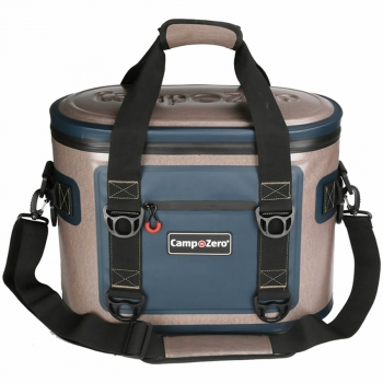 Camp-Zero 20 Can Soft Sided Premium Cooler - Beige | Blue