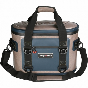 Camp-Zero 30 Can Premium Bag Cooler | Beige And Blue